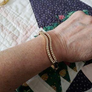 VINTAGE  ☆ 18K Gold Plated CZ Bracelet,  PRETTY